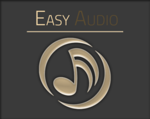 Easy Audio for Unity Cover Image Shows the Logo of Easy Audio a Golden Music Note with Brackets around and the Easy Audio Tag