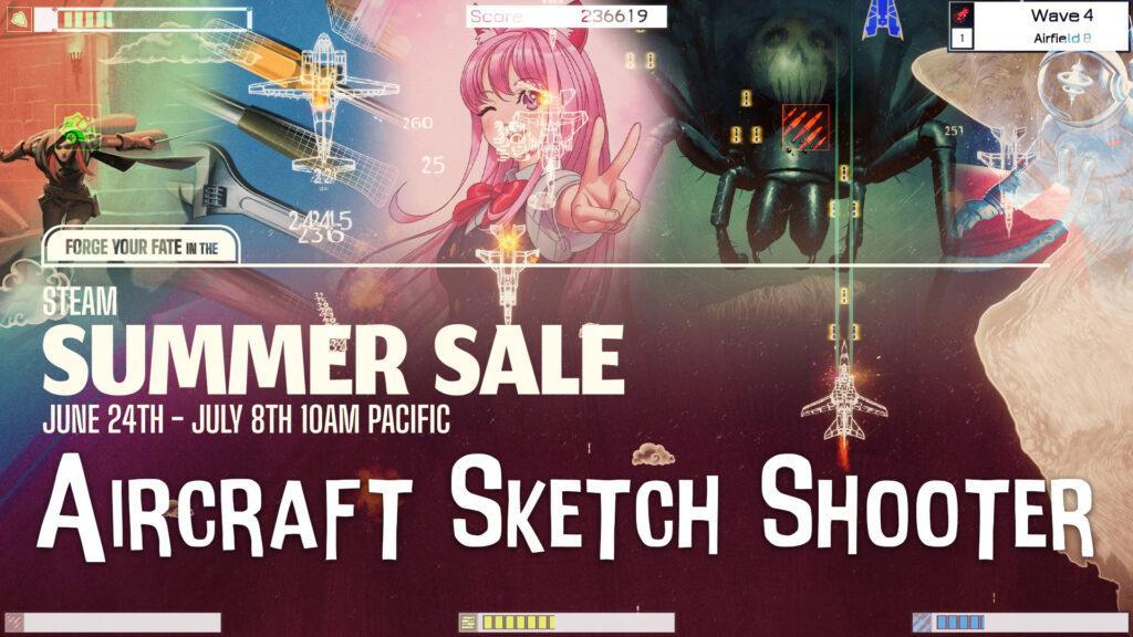Steam Summer Sale Picture for Video Games with Aircraft Sketch Shooter Design